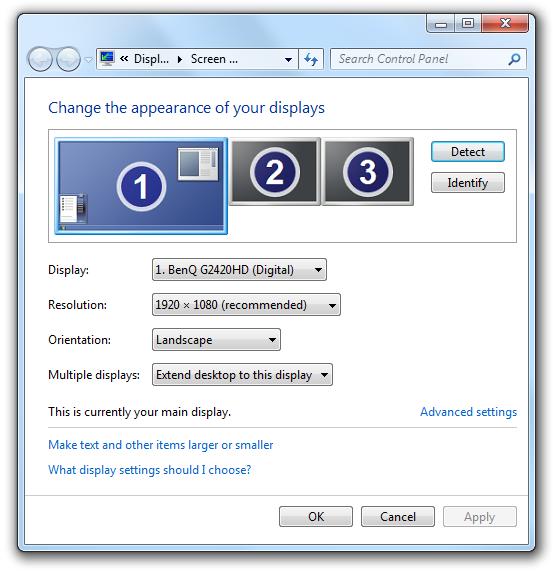 Screen Resolution Control Panel Item of Windows 7