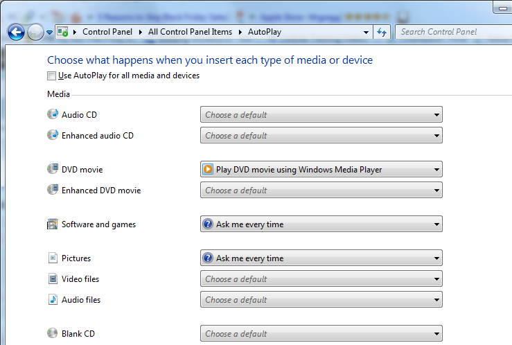 AutoPlay Windows 7