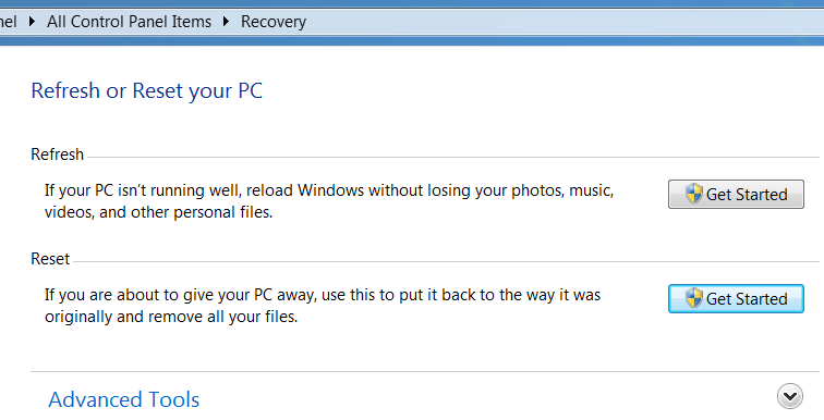 Recovery Options in Windows 8