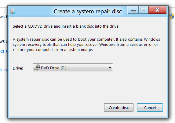 Create System Repair Disc in Windows 8
