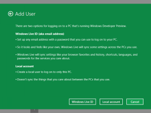 Windows 8 Screen to add New User Account to Logon to Windows 8 Computer