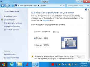 Display Settings of Windows 8