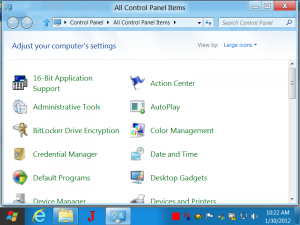 All Control Panel Items of Windows 8