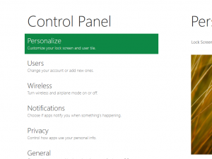 New Style Control Panel of Windows 8
