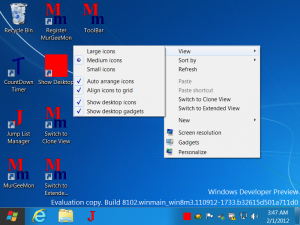Change Size of Icons in Windows 8