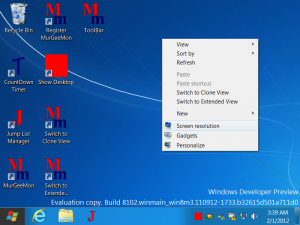 Launch Screen Resolution from Desktop Right Click Menu of Windows 8