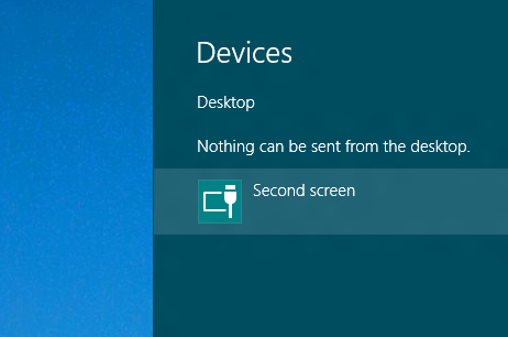 Windows 8 Charms Bar Displaying Second screen Icon