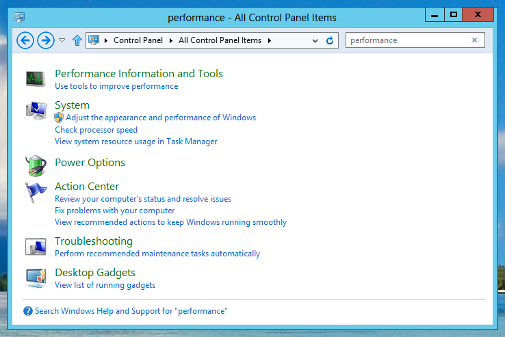 Performance - All Control Panel Items of Windows 8