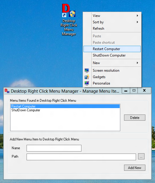 Manage Right Click menu of Windows 8 easily