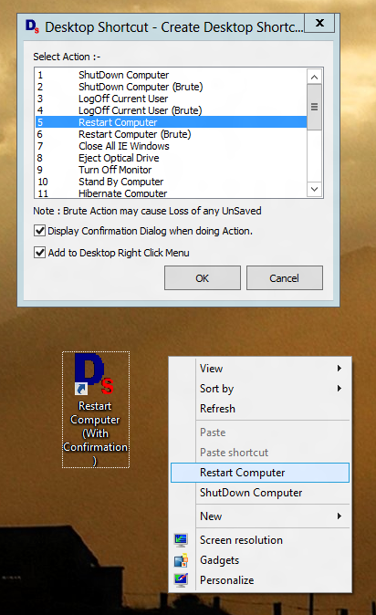 Restart Windows 8 with Desktop Shortcut or Right Click Menu