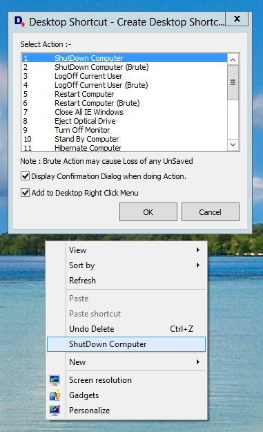 Shutdown a Windows 8 Computer with Desktop Shortcut or Shortcut in Desktop Right Click Menu