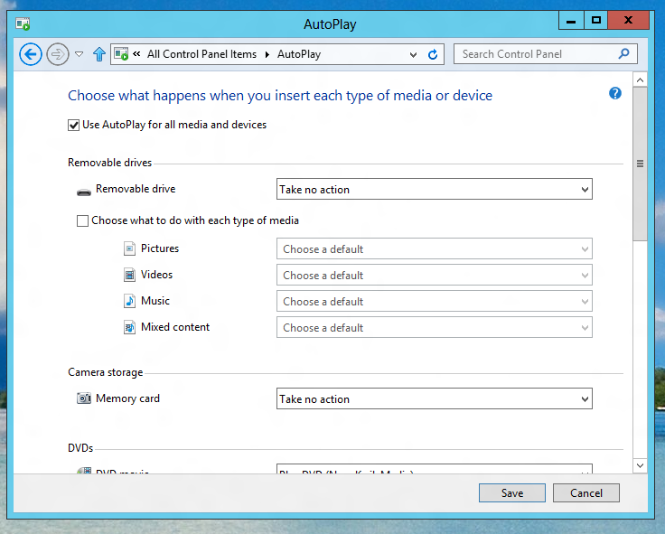 Enable or Disable AutoPlay for External Devices or Media in Windows 8