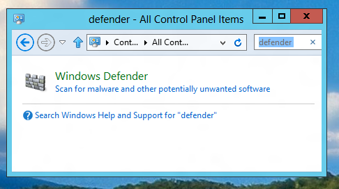 Launching of Windows 8 defender by Searching for the word defender in Control Panel