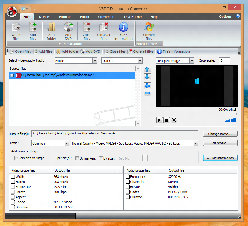 Screenshot of the best free video converter running on a Windows 8 Computer