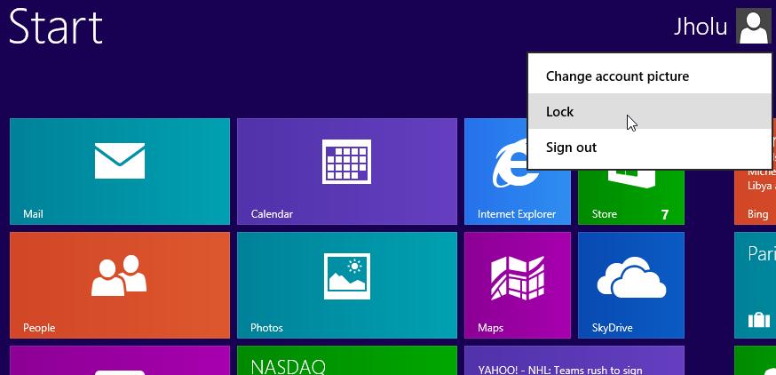 Lock Windows 8 Computer from the Start menu of Windows 8