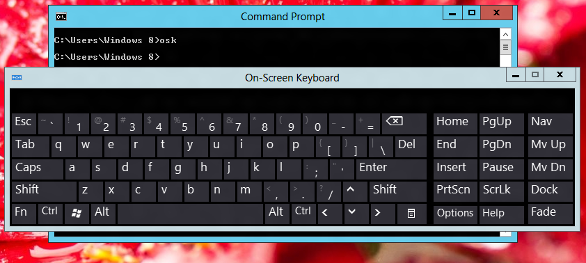 command for onscreen keyboard windows 7