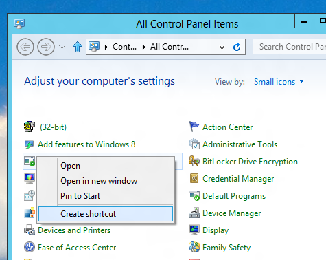 Create Desktop Shortcut for Control Panel Command in Windows 8