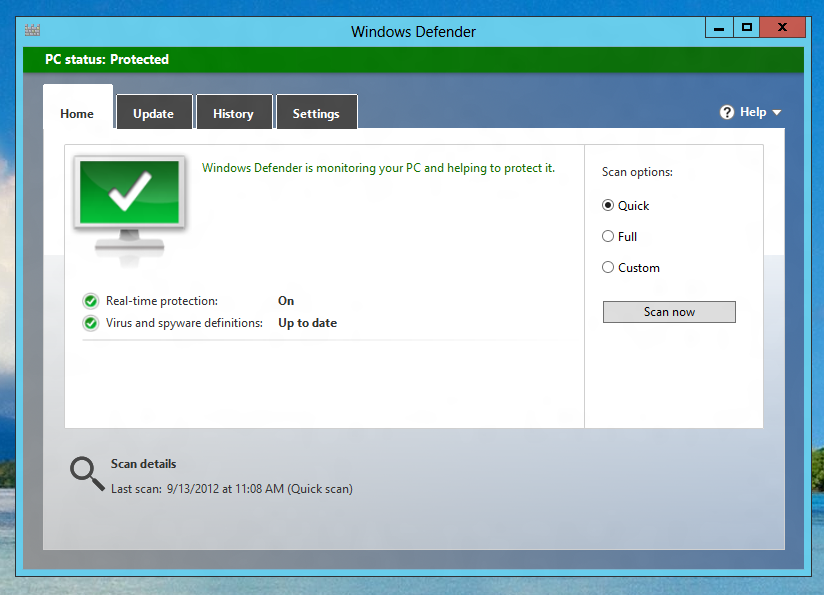Scan your Windows 8 Computer for Viruses using Windows Defender