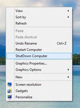 Desktop Menu to Shutdown Windows 8