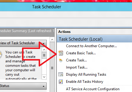 Create Basic Task in Windows Task Scheduler
