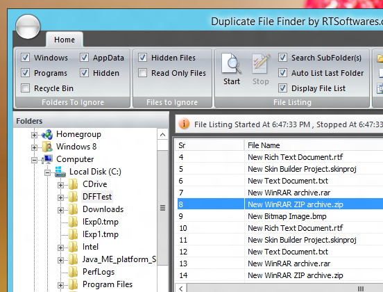 Listing of Files in Duplicate File Finder