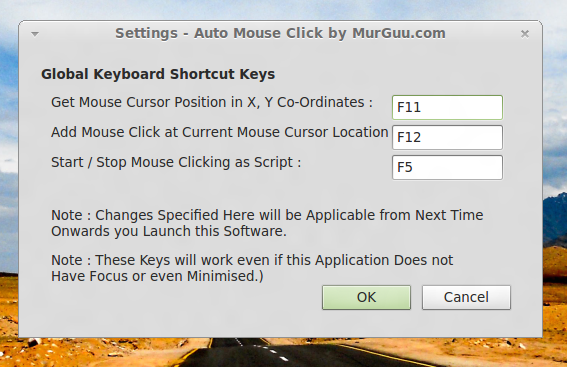 Linux Auto Clicker and Typer Settings to Control Keyboard Shortcuts