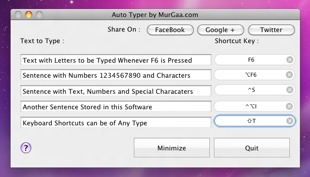 Mac Auto Typer with Keyboard Shortcuts of Macintosh Keyboard