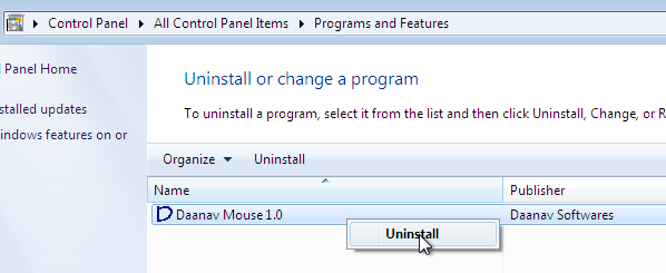 Start Software Uninstall in Windows 7 from Programs and Features