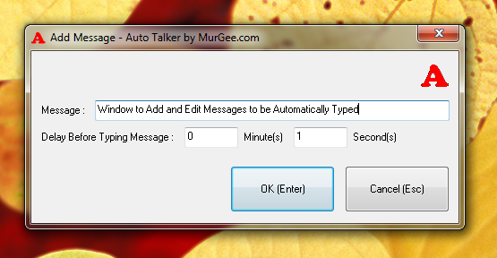 Configure Delay and Text Sentence of Auto Talker