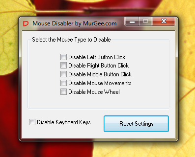 Disable Mouse Click and Mouse Movement