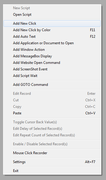 Add Mouse Clicks and other Actions to the Script