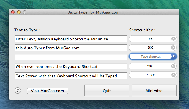 Auto Text Typer for Apple's OS X Macintosh